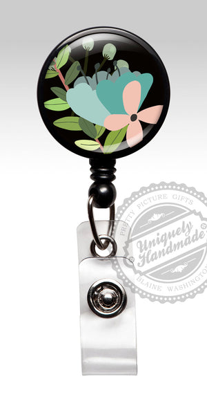 Floral Retractable Badge Clip - Green Black Pink Nurse Badge Holder 517