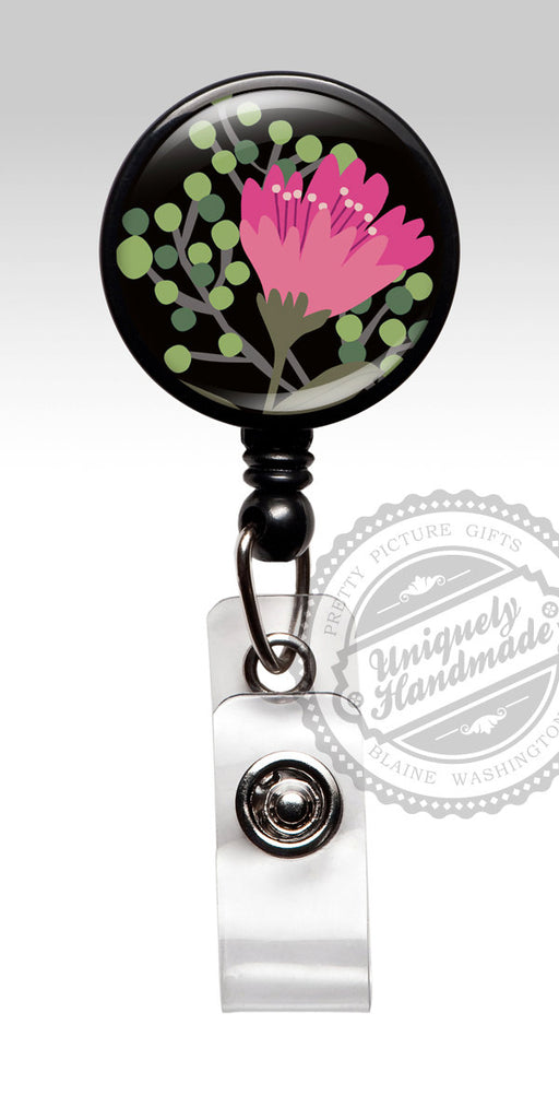 Floral Retractable Badge Holder - Pink Flowers Badge Clip for Staff Appreciation Gift 518
