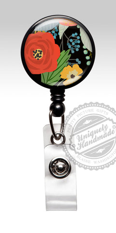 Floral Retractable Badge Holder - Christmas Winter Nurse Badge Holder for Staff Appreciation Gift 519