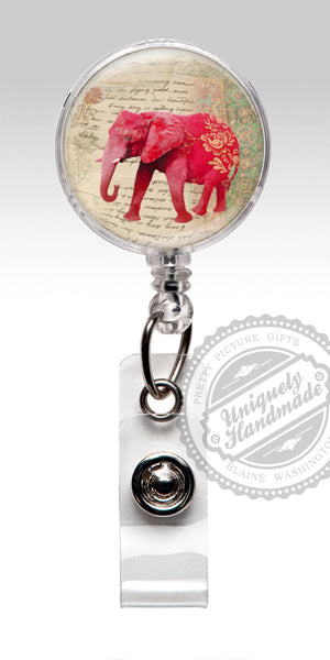 Red Elephant Nurse Badge Reel - Cute Retractable Badge Holder Nursing Student Gift 507