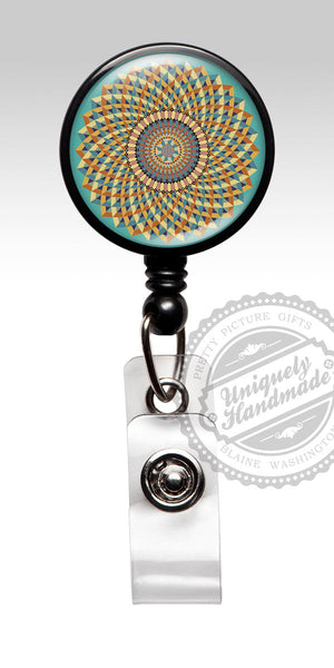 Mandala Design Nurse Badge Holder - Retractable Badge Holder, Badge Clip Gift 541