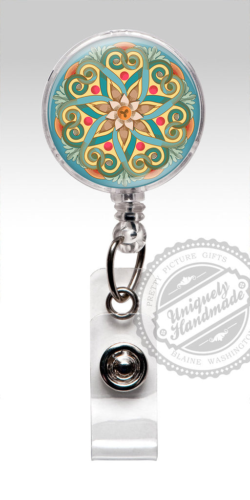 Mandala Design Nurse Badge Holder - Classic Retractable Badge Holder 549