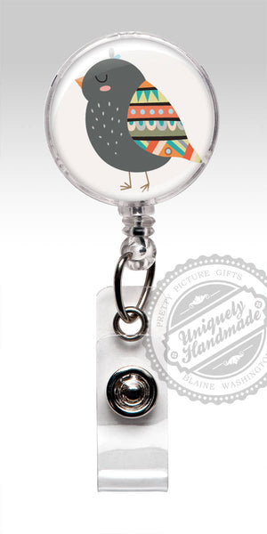 Boho Bird Badge Reel - Cute Animal Retractable ID Badge Holder Gift for Her 556