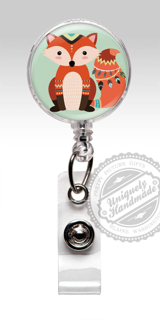 Boho Chic Little Fox Retractable Badge Holder - Boho Fox Badge Clip for Rn Cna Doctor 557