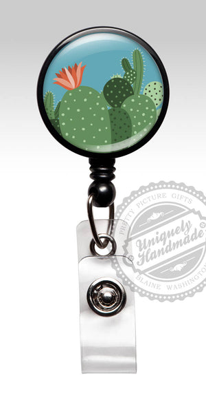 Cute Cactus Badge Clip - Retractable Badge Reel or Carabiner Rn Cna Doctor Id Badge Gift for Her 561