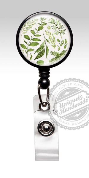 Botanical Id Badge Reel - Green and White Foliage Retractable Badge Carabiner Lanyard Her 564