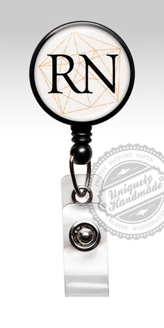 RN Geometric Gold Id Badge Reel - Professional RN Badge Holder 531