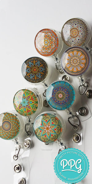 Mandala Design Nurse Badge Holder - Yoga Retractable Badge Holder Gift for Her 543