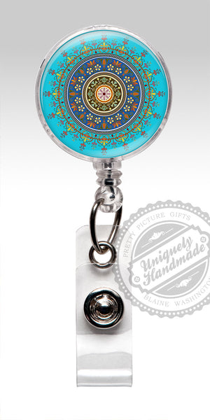 Blue Mandala Design Nurse Badge Holder - Yoga Retractable Badge Holder, Badge Clip 542