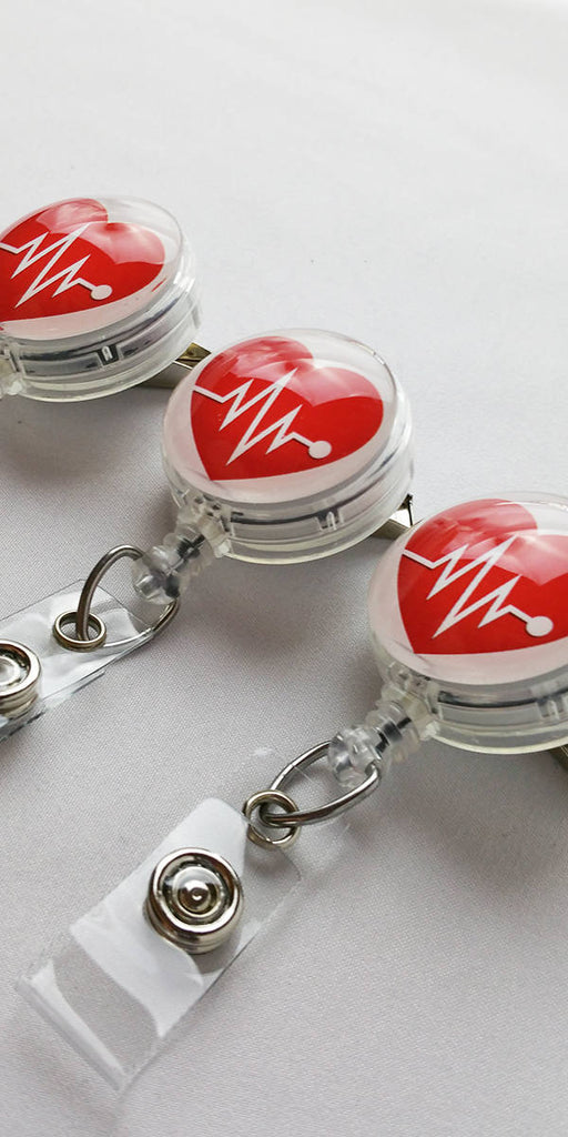 Cardiology Badge Reel - Red Heart Retractable ID Badge Holder Cardiac Rn Dr 535