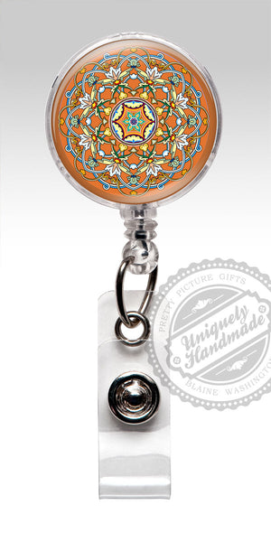 Mandala Design Nurse Badge Holder - Orange Retractable Badge Holder Gift for Her 547