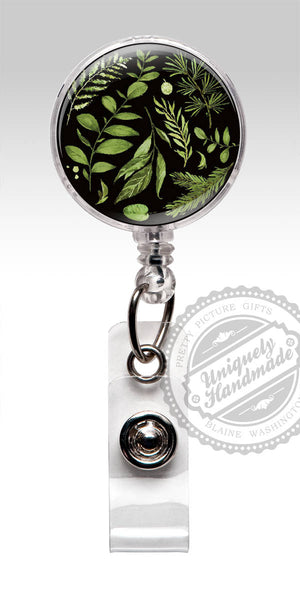 Botanical Id Badge Holder - 2017 Trending Design Black Green Gift for Her 565