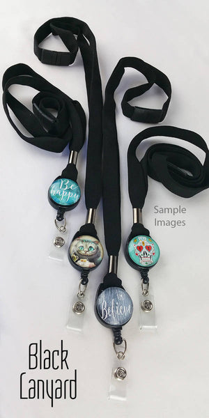 Funny Cat Badge Reel - Cat Retractable ID Badge Holder - Blue - Whimsical Victorian 349