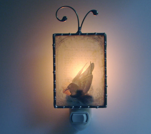 French Black Bird Night Light in the dark By Pretty Picture Gifts