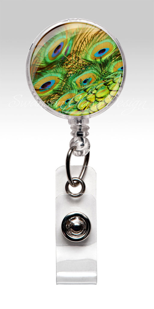 Peacock Feather Badge Reel - Green Blue Gold Retractable ID Badge Holder 73