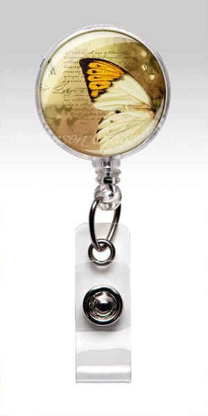 Butterfly Retractable ID Badge Reel - White Butterfly Name Badge Holder 54