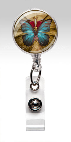 Butterfly Retractable ID Badge Holder - Name Badge Holder Blue Butterfly 183