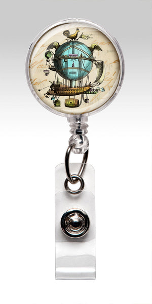 Steampunk Retractable Badge Holder - Balloon ID Badge Reel Vintage Air Balloon 103