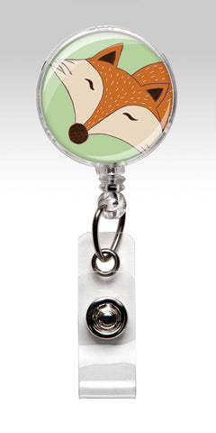 Fox Nurse Badge Reel - Unique Retractable ID Badge Holder Happy Animal - Mint Green 03