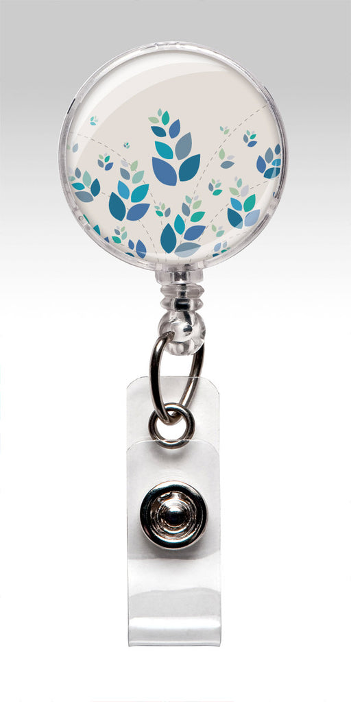 Blue Wheat Retractable Nursing Badge Reels  - Blue White Flowers to match your scrubs 422