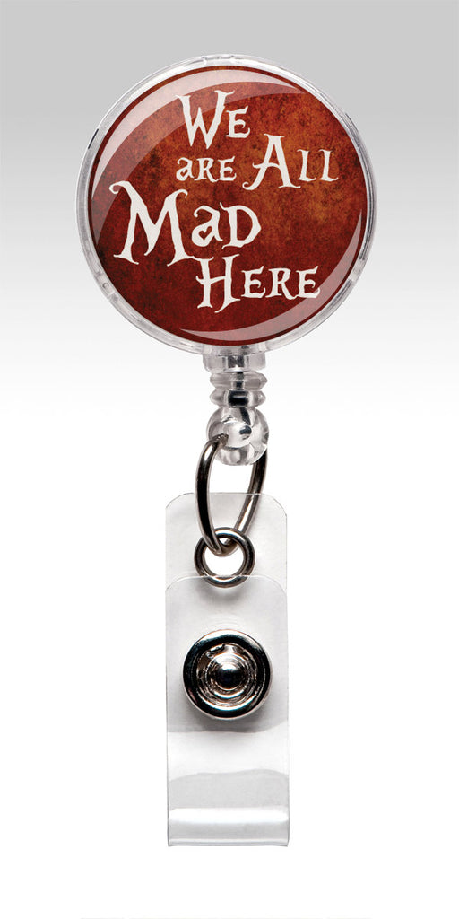 Alice in Wonderland ID Badge Holder - Red We are All Mad Here 234