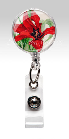 Red Tulip Flower Name Badge Reel Clips - Floral Nurse Badge Tulips 250