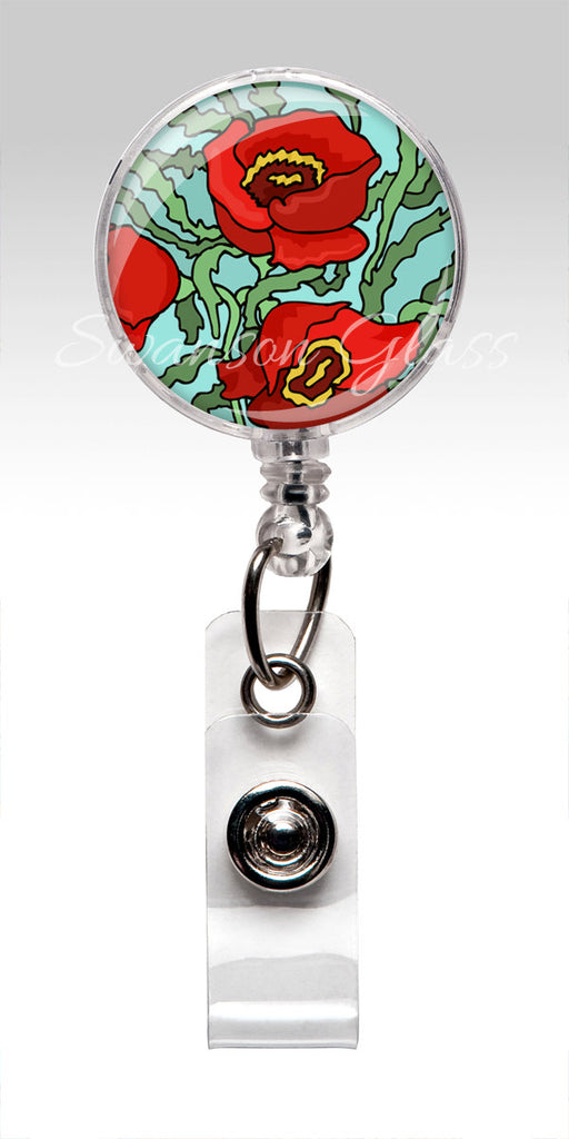 Poppy Name Badge Holder - Flower Badge Reel Red Poppies Aquamarine ID 254
