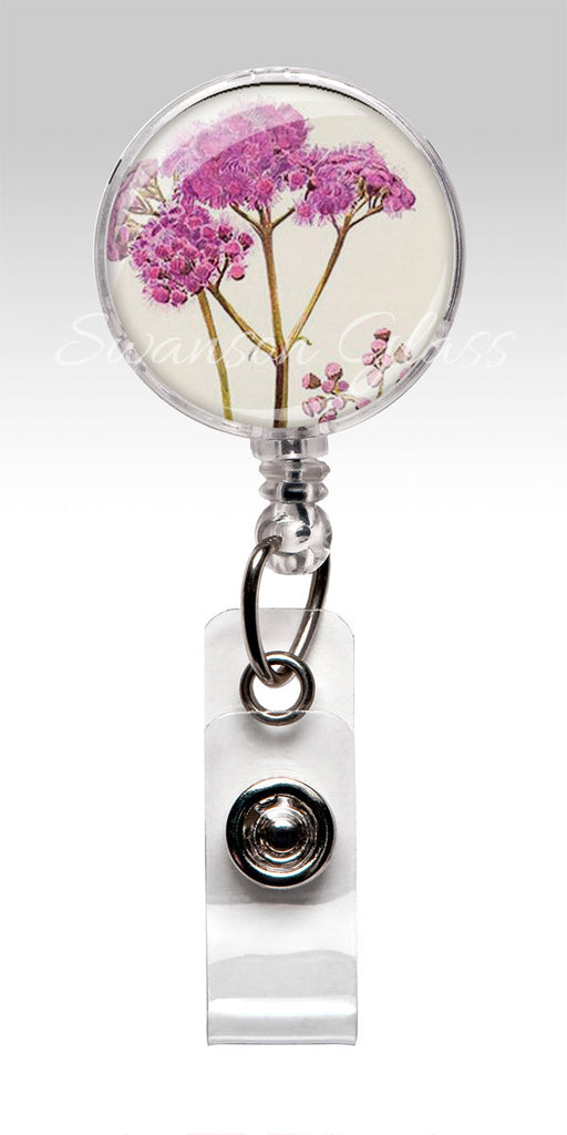 Pink Flower Name Badge Reel Clips - Meadow Flowers Nurse Badge ID Badges 246