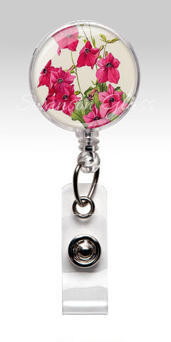 Fuchsia Pink Flower Name Badge Reel Clips - Vintage Style Floral Nurse Badge 248