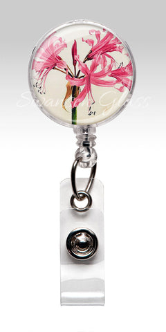 Pink Flowers Retractable Id Badge Reels - Pink Lilies Fuchsia Flower Employee Gifts 2511