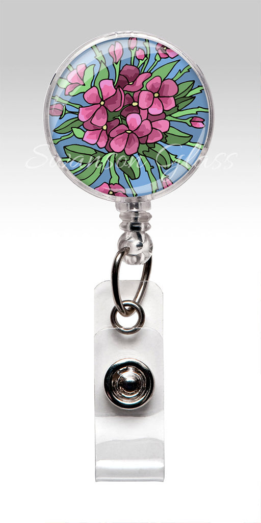 Pink Purple Flower Badge Reel - Nurse Badge Holder - Floral ID Badge Holder 301