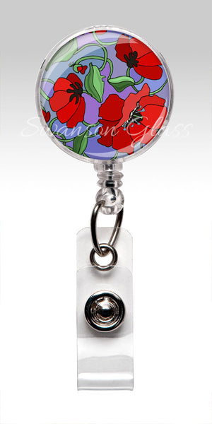 Poppy Flower Badge Reel - Stethoscope tag - Lanyard - Red Flowers 3031