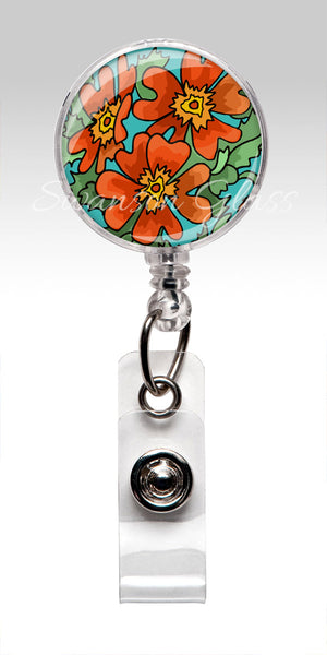 Orange Flower Badge Reel - Orange Floral Bold Badge Holder 302