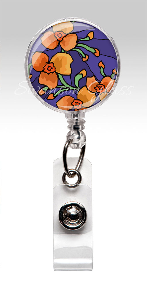 Orange Flower Badge Reel - Purple Retractable Nurse Badge Holder 303