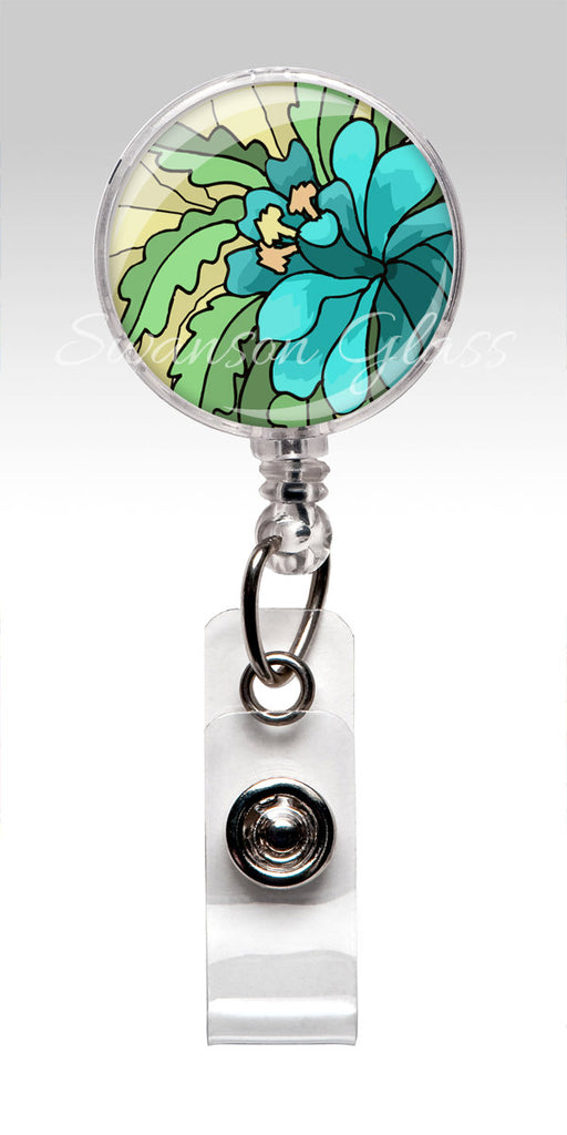 Blue Abstract Flower - Floral Badge Reel - Blue Retractable Nurse Badge Holder 304