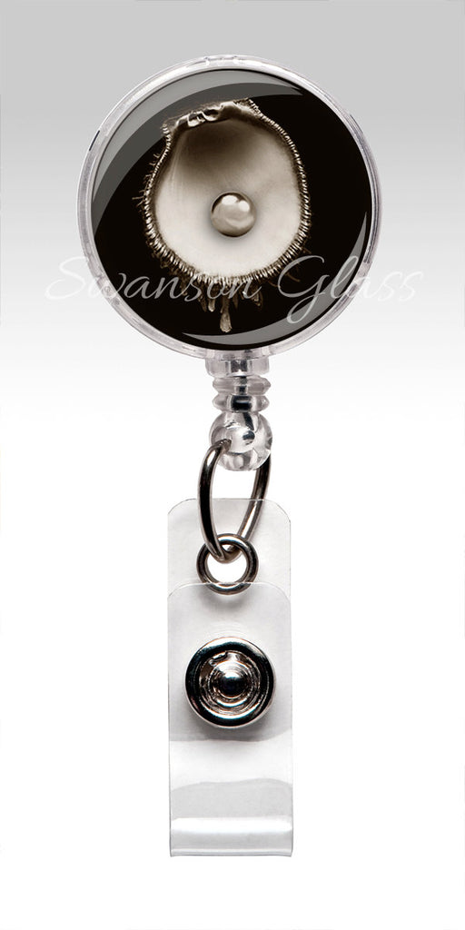 Pearl Oyster Shell Name Badge Holder - Nautical Nurse Badge Reel 319