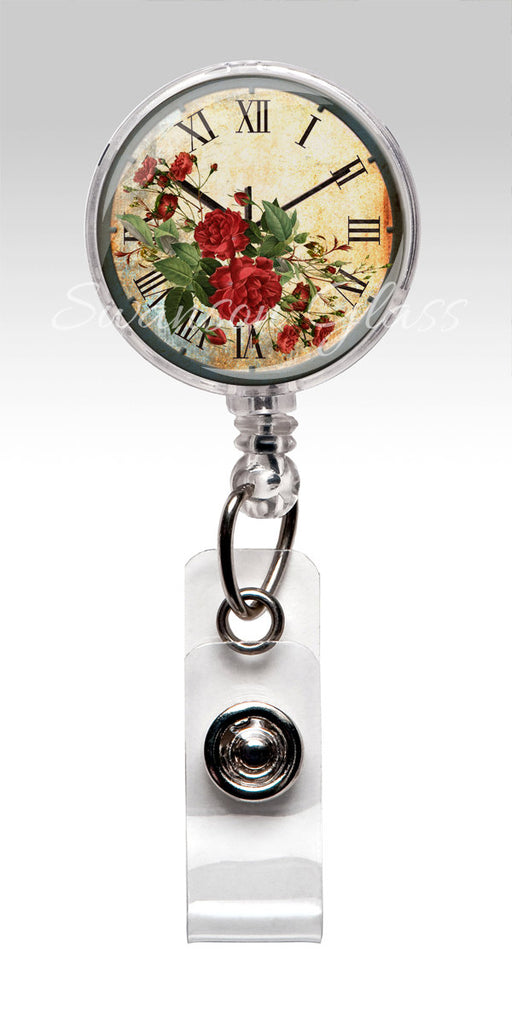 Vintage Clock Red Roses Retractable ID Badge Holder - Antique Name Badge Reel Clips 327