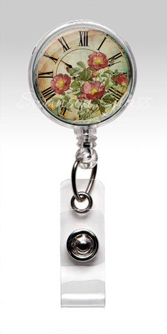 Badge Reel Red Roses - Vintage Inspired Red Roses Pocket Watch Name Badge Holder 333
