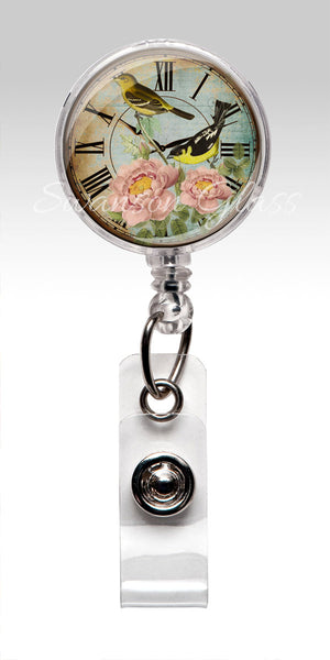 American Goldfinch Flowers Clock - Name Badge Reel Clips 334