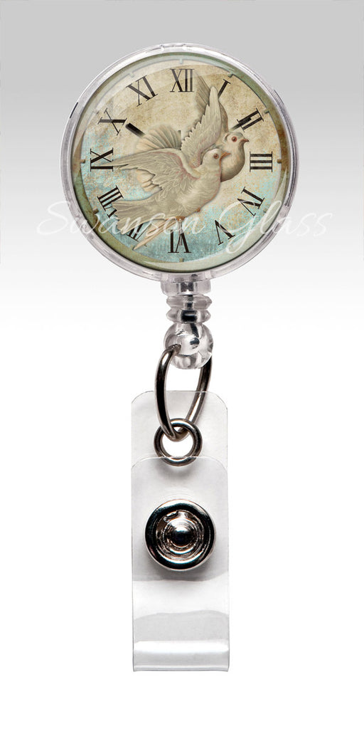 White Doves Christian Badge Reel - Vintage Clock White Doves Retractable ID Badge Holder 328