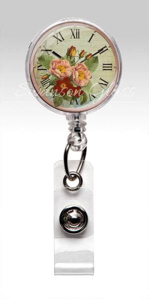 Vintage Pink Roses Badge Reel - Retractable ID Badge Holder for Employee Appreciation Gift 335