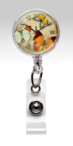 Vintage Butterfly Clock Badge Reel - Orange Antique Nurse Badge Holder 337