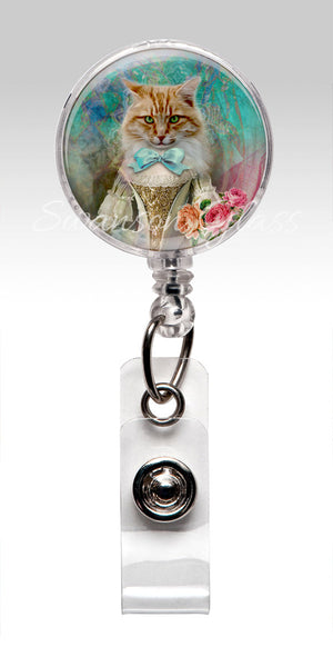 Funny Victorian Cat Badge Reel - Cute Pet Retractable ID Badge Holder Gift under 10 348