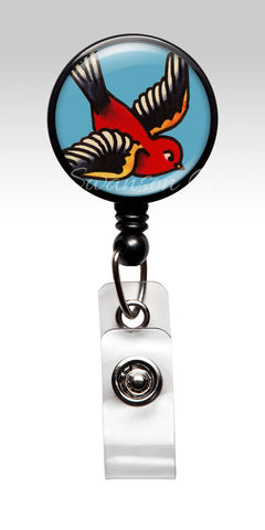 Bird Tattoo Flash ID Badge Accessory - Bird of Happiness Retractable ID Badge Holder 352