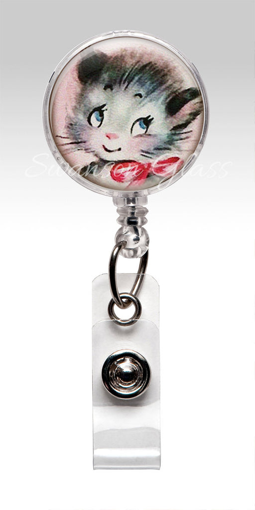 Cat Retractable ID Badge Holder - Childrens Storry Book Illustration KITTEN Teacher 346