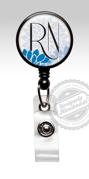 RN Badge Reel Royal Blue Flower ID Badge - Cute RN Nurse Badge Clip 385
