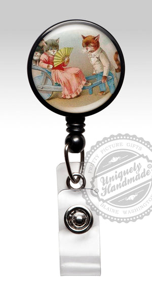 Funny Vintage Cat Name Badge Reel - Retractable Id Card Holder LPN RN, Nurse Jewelry 431