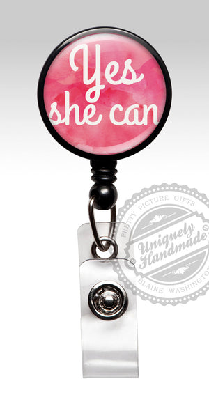 Yes She Can ID Badge - Cute Pink Young Girl Student ID Badge Gift 455