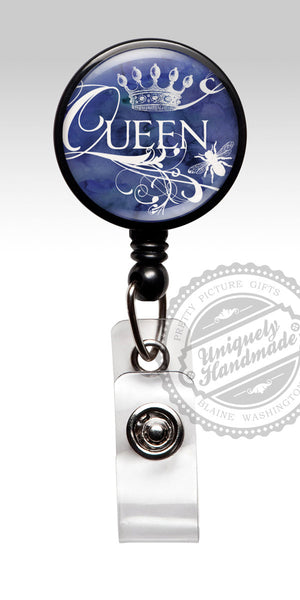 Royal Queen Bee Badge Reel in Blue - Friend Gift Id Badge Stethoscope ID Tag 463