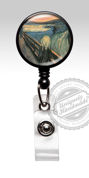 The Scream Painting Badge Reel - Retractable Badge Holder for Teacher Gift for Her RN 470